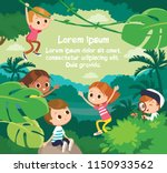 kids walking in jangle. vector... | Shutterstock .eps vector #1150933562