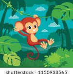 cute baby monkey hanging on... | Shutterstock .eps vector #1150933565