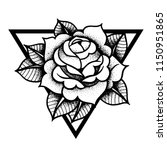 tattoo rose flowerwith sacred... | Shutterstock .eps vector #1150951865