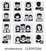 vector black people icons set... | Shutterstock .eps vector #115095286