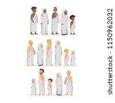 set of character wearing ihram  ... | Shutterstock .eps vector #1150962032