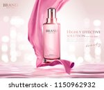 pink essence spray with satin... | Shutterstock .eps vector #1150962932