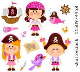 vector collection of girls with ... | Shutterstock .eps vector #1150974458