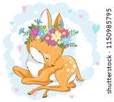 vector deer in a flower wreath... | Shutterstock .eps vector #1150985795