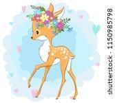 vector deer in a flower wreath... | Shutterstock .eps vector #1150985798