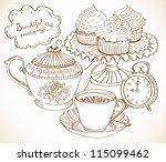 Vintage Tea Background  Hand...