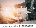 swot analysis virtual diagram... | Shutterstock . vector #1150998152