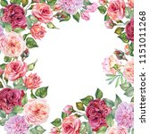 roses frame with watercolor... | Shutterstock . vector #1151011268