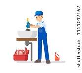 professional plumber repairing...   Shutterstock .eps vector #1151012162