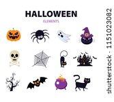 halloween elements. happy... | Shutterstock .eps vector #1151023082