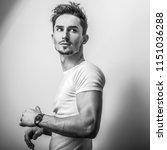 elegant young handsome man....   Shutterstock . vector #1151036288