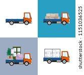 orange small trucks with... | Shutterstock .eps vector #1151036525