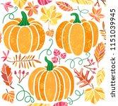 vector pumpkin illustration set ... | Shutterstock .eps vector #1151039945