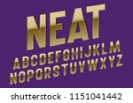 neat alphabet. luxurious golden ... | Shutterstock .eps vector #1151041442
