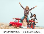 young women riding on... | Shutterstock . vector #1151042228