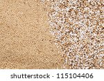 Popped and raw amaranth seeds - stock photo