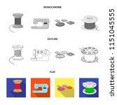 thread reel  sewing machine ... | Shutterstock .eps vector #1151045555