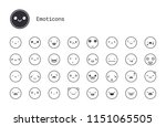 cute emoticons thin line icons. ...   Shutterstock .eps vector #1151065505