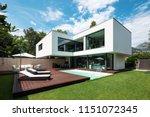 exterior modern white villa... | Shutterstock . vector #1151072345