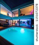 modern villa with colored led... | Shutterstock . vector #1151072378