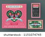 wedding invitation template set.... | Shutterstock .eps vector #1151074745