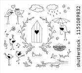 set of doodles of cute... | Shutterstock .eps vector #1151089832