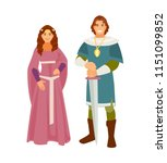 man and woman in medieval...   Shutterstock .eps vector #1151099852
