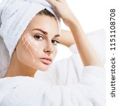young woman with towel on head... | Shutterstock . vector #1151108708