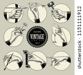 set of round icons in vintage... | Shutterstock .eps vector #1151111912