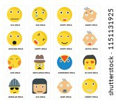 set of 16 icons such as creepy... | Shutterstock .eps vector #1151131925