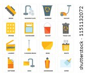 set of 16 icons such as wiper ...