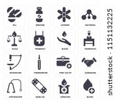 set of 16 icons such as blood ...