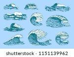 atlantic tidal waves. vintage... | Shutterstock .eps vector #1151139962