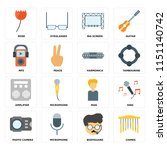 set of 16 icons such as chimes  ...