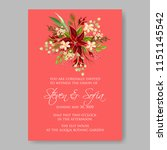 poinsettia wedding invitation... | Shutterstock .eps vector #1151145542