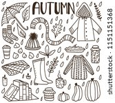 cute doodle set with hand drawn ...   Shutterstock .eps vector #1151151368