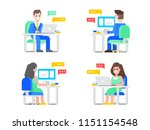 set of four   people are...   Shutterstock .eps vector #1151154548