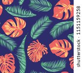 summer exotic floral tropical... | Shutterstock .eps vector #1151159258