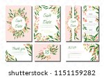 wedding card templates set with ... | Shutterstock .eps vector #1151159282