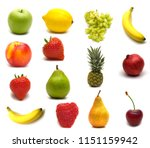 fruits isolated on white... | Shutterstock . vector #1151159942