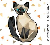 low poly cat in polygonal style.... | Shutterstock .eps vector #1151165075