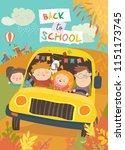 children on the way to school | Shutterstock .eps vector #1151173745