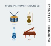 colored music instruments... | Shutterstock . vector #1151178128