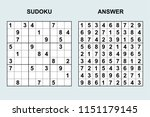 vector sudoku with answer 160.... | Shutterstock .eps vector #1151179145