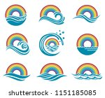 abstract collection of rainbow... | Shutterstock .eps vector #1151185085