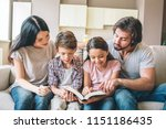 concentrated kids are sitting... | Shutterstock . vector #1151186435