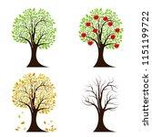 tree in four seasons. spring ...   Shutterstock .eps vector #1151199722
