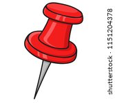 red thumbtack. doodle style... | Shutterstock .eps vector #1151204378