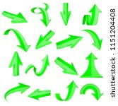 green 3d arrows. straight and... | Shutterstock .eps vector #1151204408