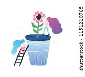 small woman and giant flower  ...   Shutterstock .eps vector #1151210765